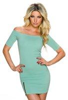 Dames korte jurk off-shoulder - groen