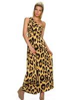 Dames maxi dress / lange jurk met panterprint - bruin
