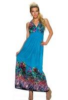 Dames maxi dress / lange jurk - blauw