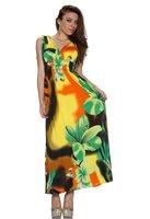 Dames maxi dress / lange jurk - geel / groen
