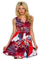 Dames halflange jurk - rood / multicolor