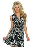Dames halflange jurk met zebraprint - bruin / donkerblauw