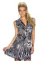 Dames halflange jurk met zebraprint - zwart / wit