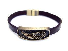 Armband leder / staal - vleugel