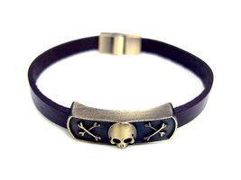 Armband leder / staal - doodshoofd / skull
