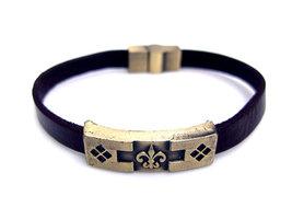 Armband leder / staal - Franse lelie