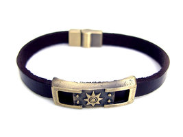 Armband leder / staal - zon