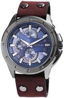 Excellanc XXL horloge met lederen band - bruin / blauw