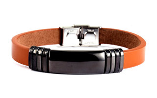 Armband leder / staal - camel