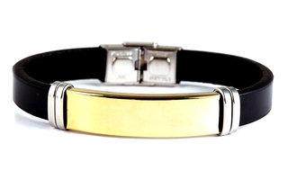 Armband leder / staal - zwart