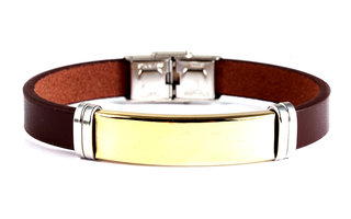 Armband leder / staal - bruin