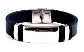 Armband leder / staal - blauw