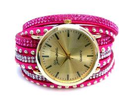 Geneva dameshorloge met wikkelband - roze
