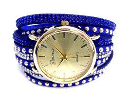 Geneva dameshorloge met wikkelband - blauw
