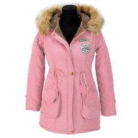 Dames halflange winterjas / parka met voering - roze