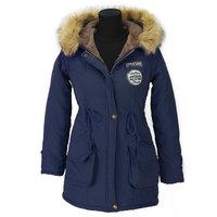 Dames halflange winterjas / parka met voering - donkerblauw