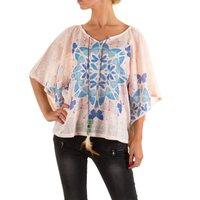 Dames shirt met korte mouw - roze / vlinders