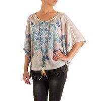 Dames shirt met korte mouw - beige / vlinders