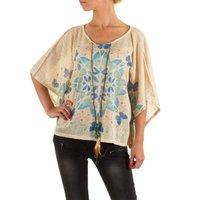 Dames shirt met korte mouw - crème / vlinders