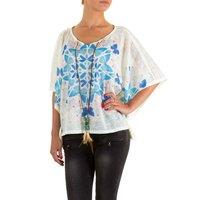 Dames shirt met korte mouw - roomwit / vlinders