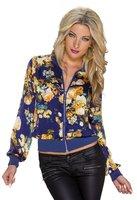 Dames bomber jack / sweatjasje met bloemenprint - donkerblauw