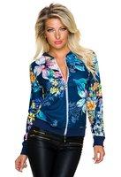 Dames bomber jack / sweatjasje met bloemenprint - blauw / multicolor