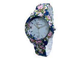 Geneva dameshorloge met kunststof band - bloemen / donkerblauw