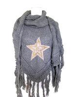 Dames poncho / omslagdoek met ster - grijs
