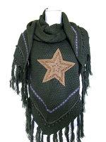 Dames poncho / omslagdoek met ster - legergroen