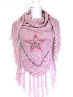 Dames poncho / omslagdoek met ster - roze
