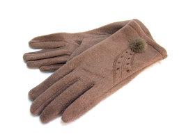 Handschoenen met bontpluimpje - kaki