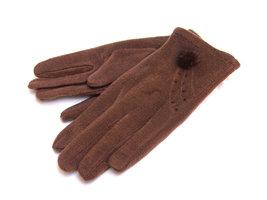 Handschoenen met bontpluimpje - bruin