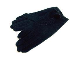 Handschoenen met bontpluimpje - zwart