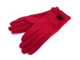 Handschoenen met bontpluimpje - rood