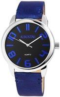 Aerostar XXL horloge met lederen band - blauw / zwart
