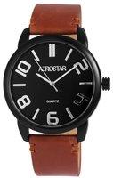 Aerostar XXL horloge met lederen band - camel / zwart