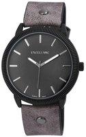 Excellanc XXL horloge met lederen band - grijs / antraciet