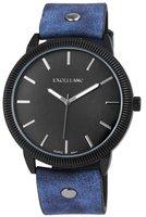 Excellanc XXL horloge met lederen band - blauw / zwart