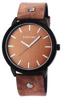 Excellanc XXL horloge met lederen band - bruin