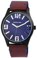 Excellanc XXL horloge met lederen band - blauw / bruin