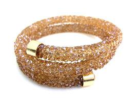 Crystaldust double dames armband - goud / bruin