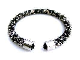 Crystaldust dames armband - zwart / zilver