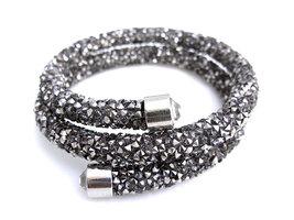 Crystaldust double dames armband - zilver
