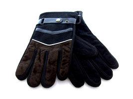 Handschoenen heren leatherlook - bruin/zwart