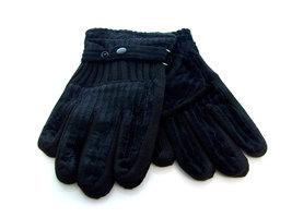 Handschoenen dames leatherlook/stof - zwart