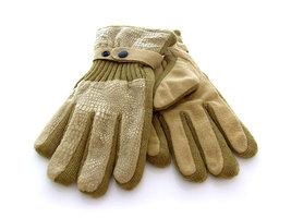 Handschoenen dames leatherlook/stof - beige