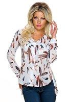 Dames blouse met veren en split-back - wit