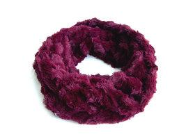 Dames pluche sjaal / loop kolsjaal imitatiebont - bordeaux / rood