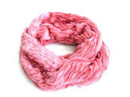 Dames pluche sjaal / loop kolsjaal imitatiebont - roze