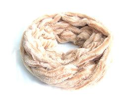 Dames pluche sjaal / loop kolsjaal imitatiebont - beige